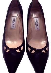 Jimmy Choo Mid-heel Cut-out Leather Pointed Toe Black Pumps