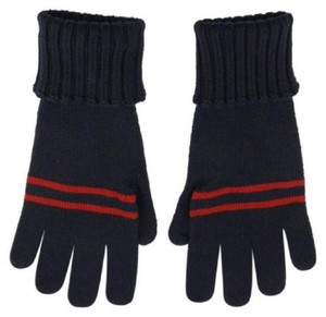 Gucci Unisex Navy Wool Gloves w/Blue Red Web sz XL 294732 4073
