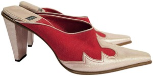 Casadei Leather Canvas Western Style Pink Metallic / Red Mules