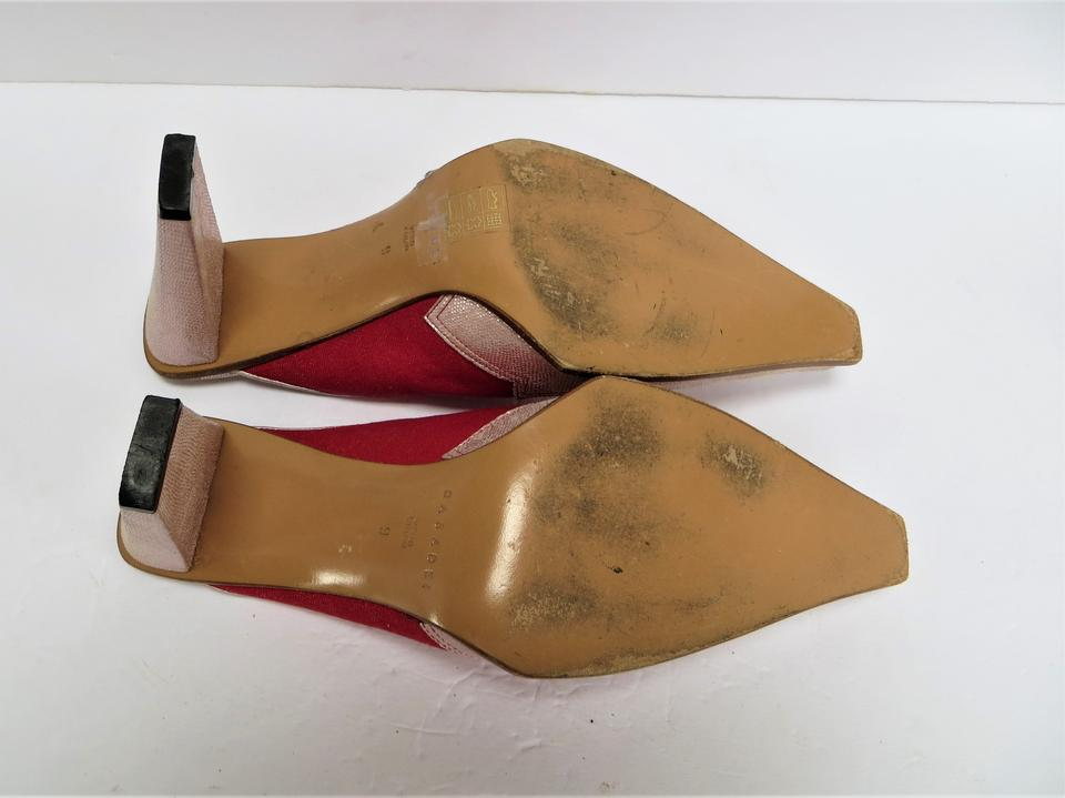 287fbe5d16ff Casadei Leather Canvas Western Style Pink Metallic   Red Mules Image 4.  12345