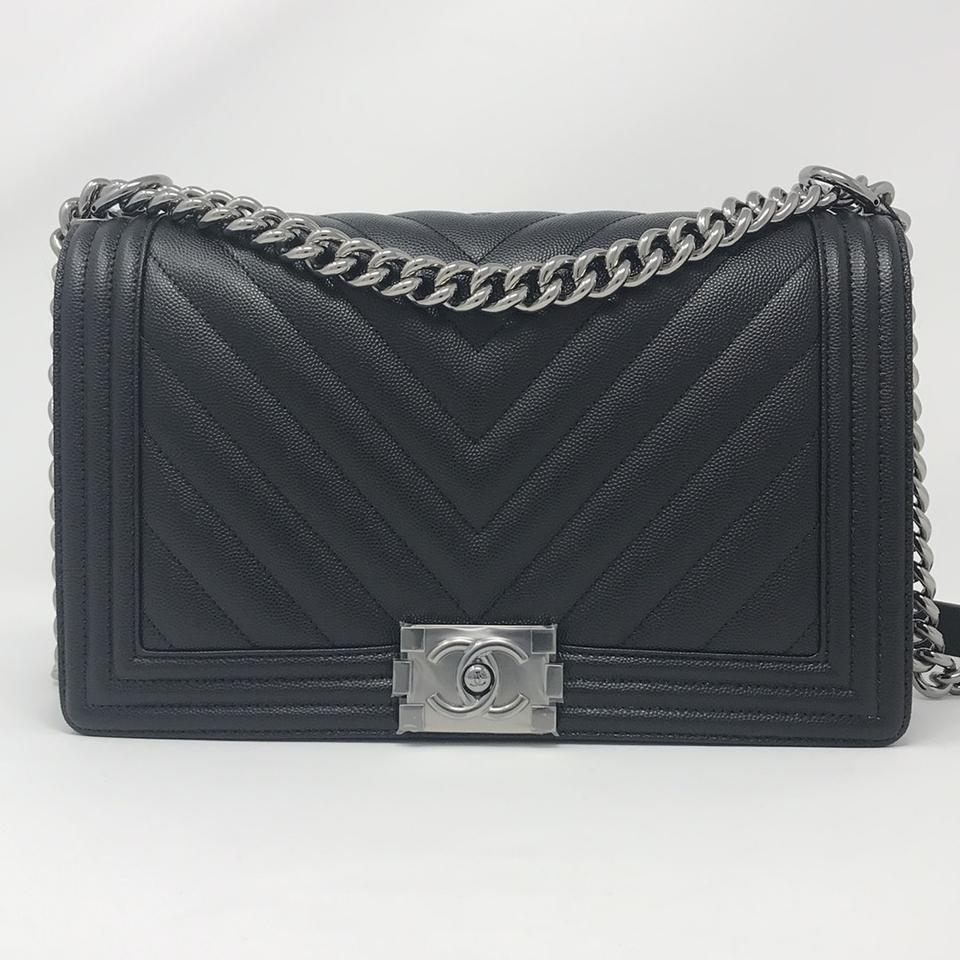 f3f3b6eded1e Chanel Boy Le New Medium Chevron Black Caviar Shoulder Bag - Tradesy