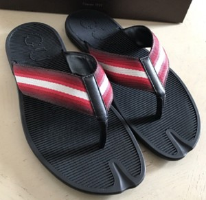 b61778f28 Gucci Black Flip-flop Thong Sandals W Red White Web 6g   Us 6.5