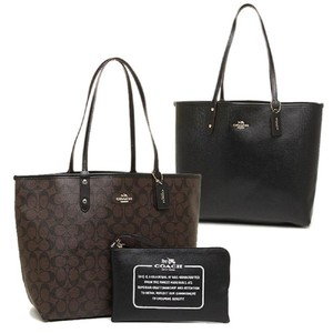 Coach Reversible Pouch Signature Coated Canvas Black Tote in Brown