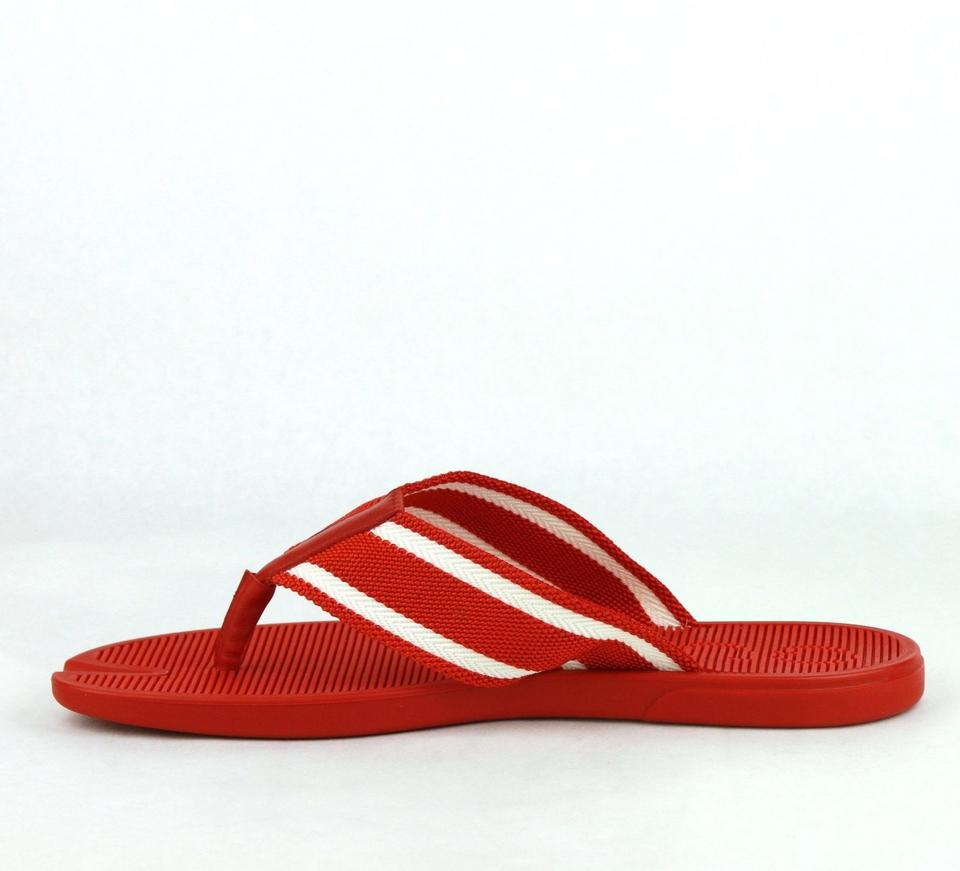 3821431af9e Gucci Red Rubber Sandals with White Stripes 11g   Us 11.5 391366 7567 Shoes  Image 7. 12345678