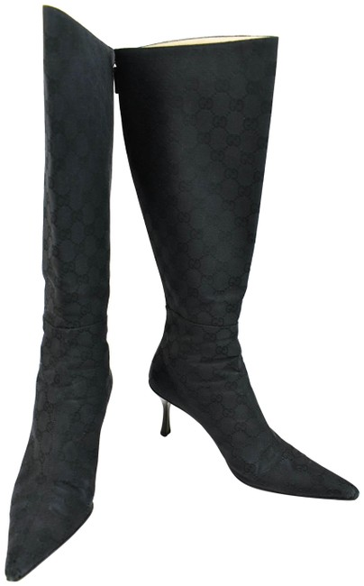 """Item - Black Monogram """"Gg"""" Logo Leather Tall Boots/Booties Size US 10.5 Wide (C, D)"""