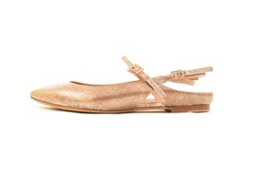 Hoss intropia Embossed Snakeskin Metallic Leather Pointed Toe Rose Gold Flats