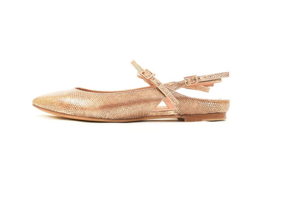 699779c0ea70 Hoss intropia Embossed Snakeskin Metallic Leather Pointed Toe Rose Gold  Flats Image 0 ...