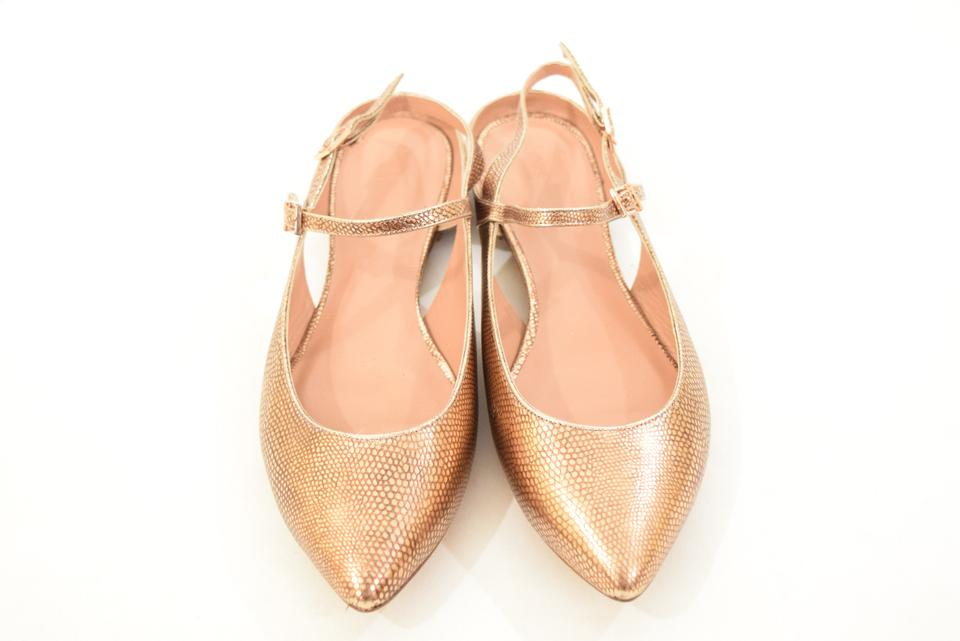06275051b27 Hoss intropia Embossed Snakeskin Metallic Leather Pointed Toe Rose Gold  Flats Image 7. 12345678
