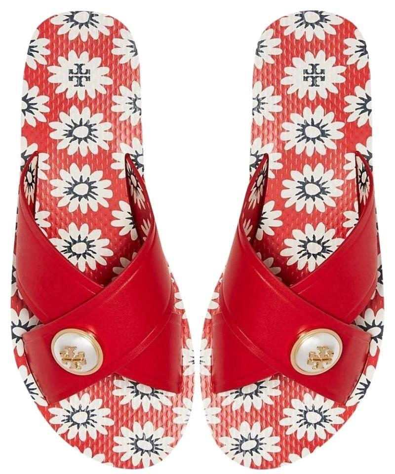 7606eac4fc8 Tory Burch Red New In Box Nantucket Navy Sea Melody Criss Cross Sandals.  Size  US 7 ...