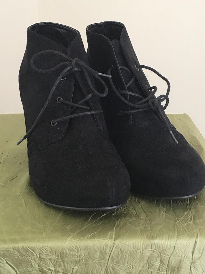 9455f6d090a Xappeal Black Wedge Suede Tie Front Boots Booties Size US 11 Regular ...
