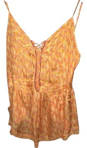 Of Two Minds Silk Flirty Lace Up Chevron Top Orange, Pink, Yellow