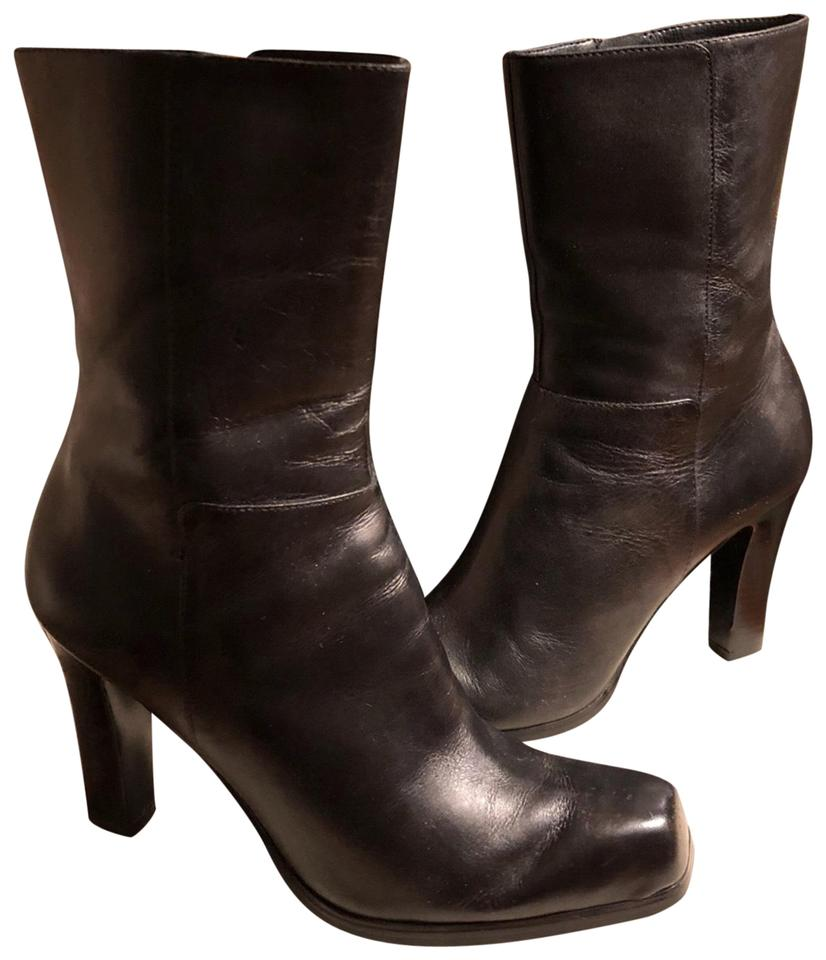 """399fa03d7f Nine West Black Leather Mid-calf 4"""" Boots/Booties Size US 7.5 ..."""