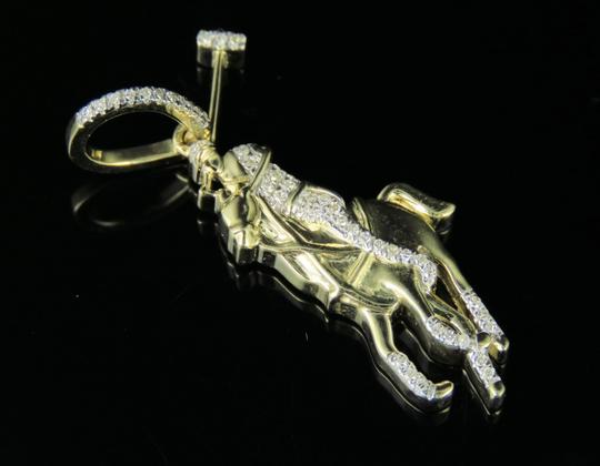 Jewelry Unlimited Men's 10K Yellow Gold Polo Horse Jockey Pendant 0.10ct 1.3