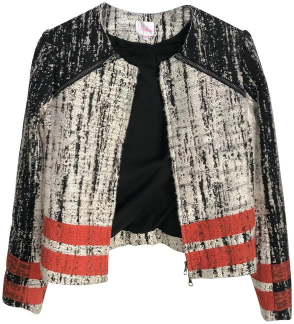 Parker Edgy Artsy Woven Structured Striped Motorcycle Jacket