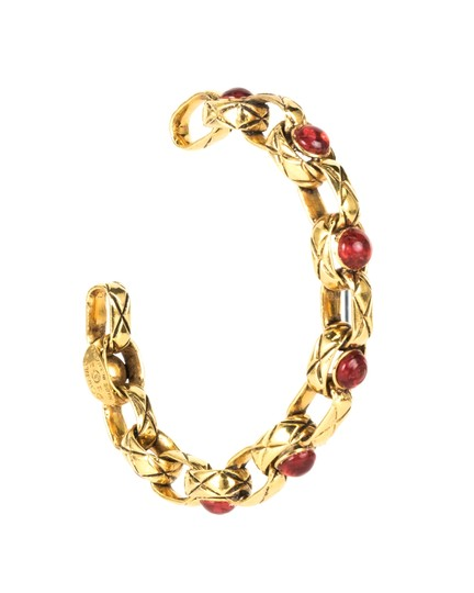 Chanel Chanel Gold and Red Engraved Gripoix Bracelet