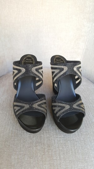 Rene Caovilla Crystal Black Wedges