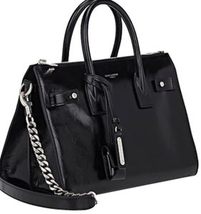 Saint Laurent Leather Sac De Jour Calfskin Satchel in Black