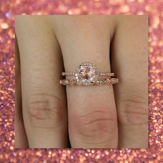 Other New 2pc 925 Rose Gold Wedding Set