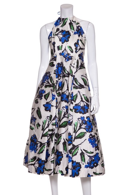 Preload https://img-static.tradesy.com/item/23219227/milly-blue-white-and-floral-print-halter-mid-length-cocktail-dress-size-6-s-0-0-650-650.jpg
