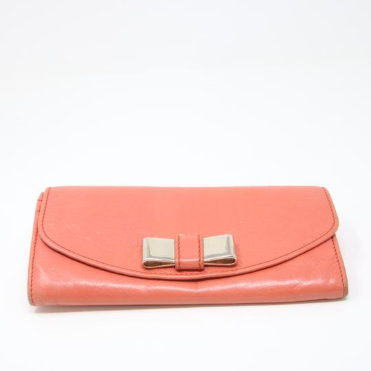 Chloé Signature Gold Ribbon Lily Long Bifold Lamb Leather Coral Wallet