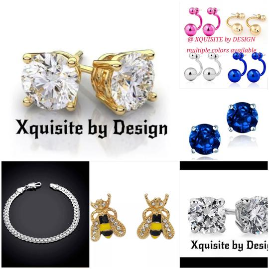 Other 14K GENUINE YELLOW GOLD PRINCESS-CUT STUDS
