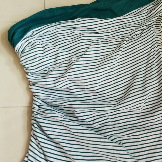 Max Studio short dress Teal and white One Shoulder Striped Cotton Mini on Tradesy