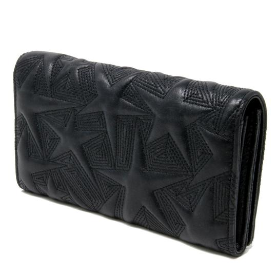 Chanel Signature CC Star Embossed Flap Long Wallet Metallic Lambskin Leather