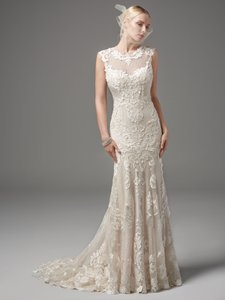 Sottero and Midgley Ivory Over Light Gold Lazer Cut Lace Applique Textured Netting Suzanne Modern Wedding Dress Size 12 (L)