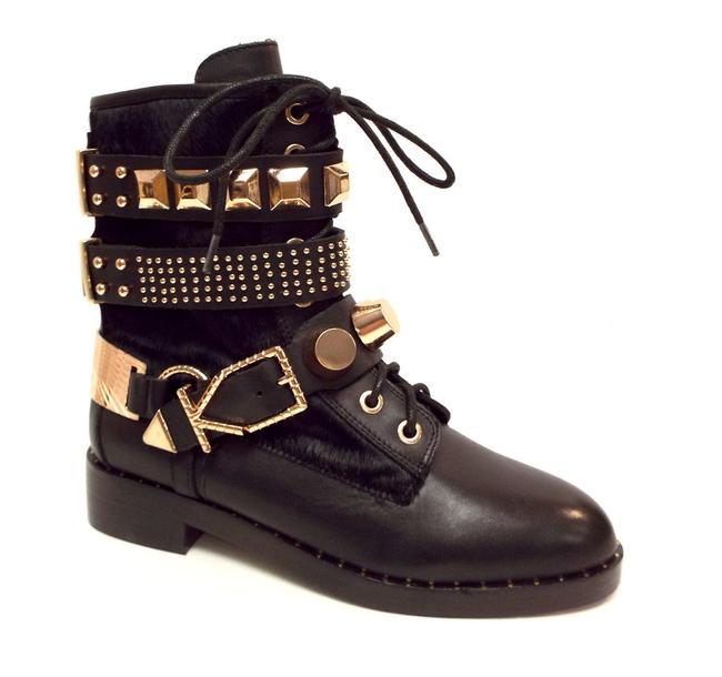 Item - Black Leather 18k Rose Gold Stud and Buckle Ankle Boots/Booties Size US 6.5 Regular (M, B)