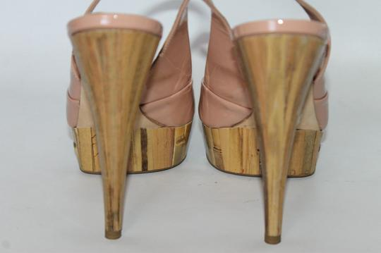 Miu Miu Patent Leather Peep Toe Slingback Bamboo Peach Beige Pumps