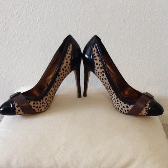 Charles David Calfhair Patent Le Leopard print, blk and brown Pumps