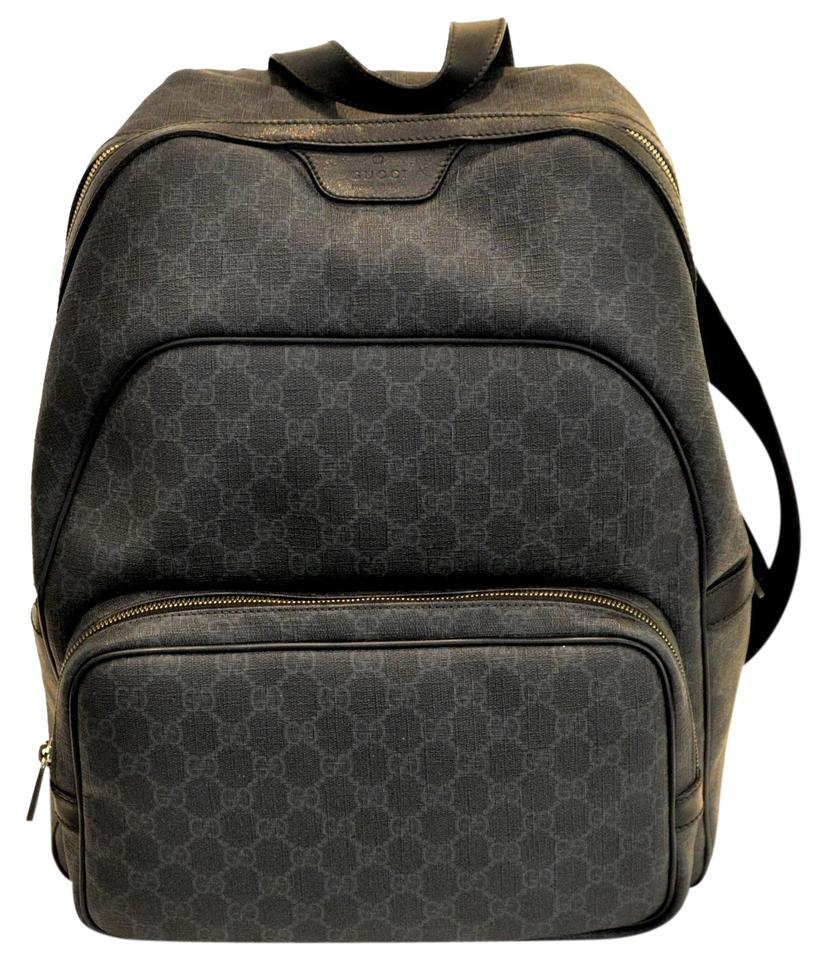ba360350727 Gucci Gg Supreme Medium Black Grey Canvas Backpack - Tradesy