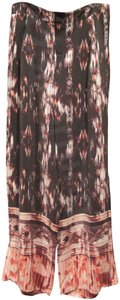 Cynthia Rowley Abstract Print Contrast Hem Silk Front Pleats Wide Leg Pants Multi Color
