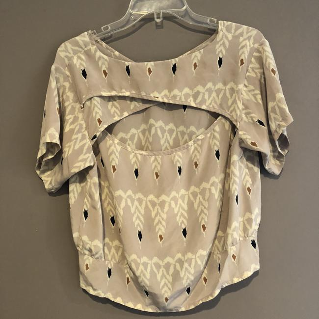 Myne Boho Printed Pattern Top Taupe