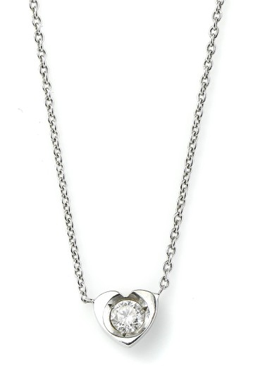 Diamond Heart Necklace Diamond Solitaire Heart Pendant Necklace