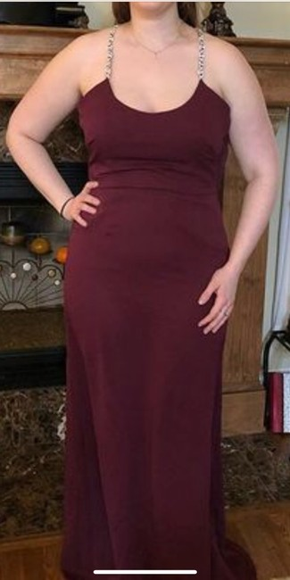 Item - Wine Chiffon with Beaded Straps F19526 Formal Bridesmaid/Mob Dress Size 4 (S)