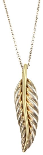 Tiffany & Co. Sterling 18k Yellow Gold Feather Leaf Pendant & Chain
