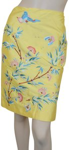 Ralph Lauren Black Label Lined New Raw Silk Embroidered Easter Skirt Yellow