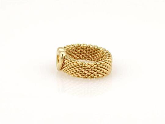Tiffany & Co. Somerset 18k Yellow Gold 6mm Wide Mesh Heart Band Ring