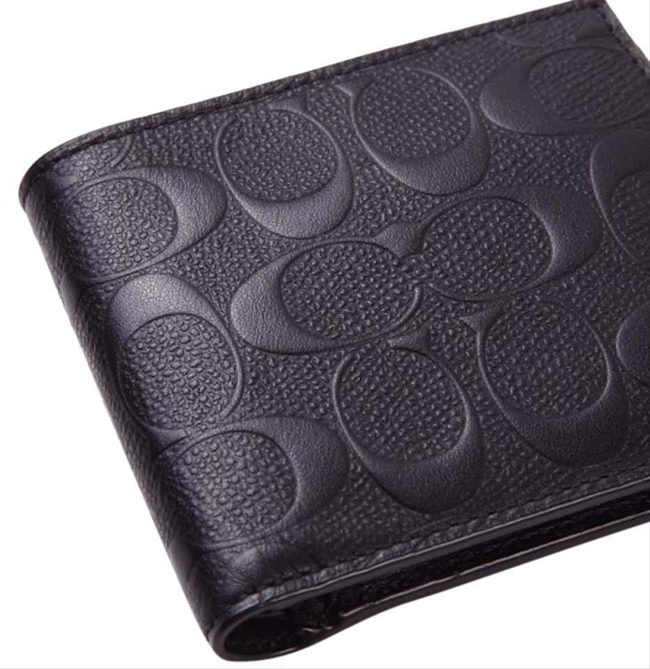 fee9cd38 Coach Black New Classic Embossed Signature Leather Coin Purse Pocket Wallet