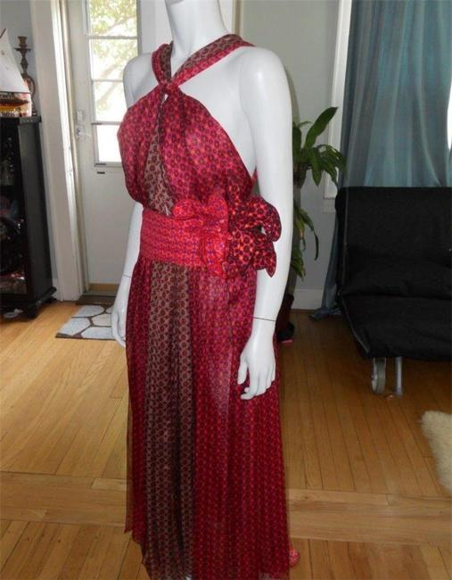 Red, Burgundy, Brown Maxi Dress by Marc Jacobs Floral Halter Flower Belt Runway