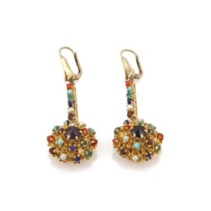 Other Estate Multicolor Gemstone 14k YGold Etruscan Drop Dangle Earrings
