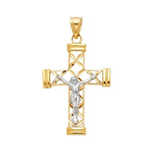 Top Gold & Diamond Jewelry 14K Yellow White Gold Jesus Crucifix Cross Religious Pendant