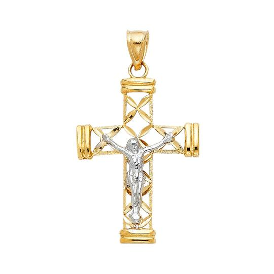 Preload https://img-static.tradesy.com/item/23220341/yellow-white-14k-jesus-crucifix-cross-religious-pendant-charm-0-0-540-540.jpg