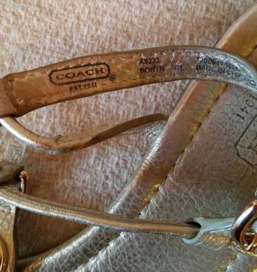 Coach Robyn Turnlock Leather silver Sandals