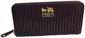 Coach GATHERED LEATHER WALLET PURPLE