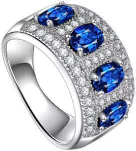 Other New 925 Silver Oval Topaz Semi Eternity Band