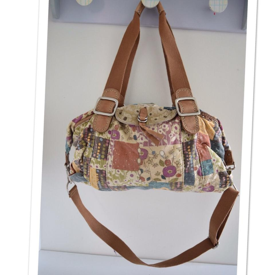Fossil Duffle Multi Color Canvas Leather Weekend Travel Bag