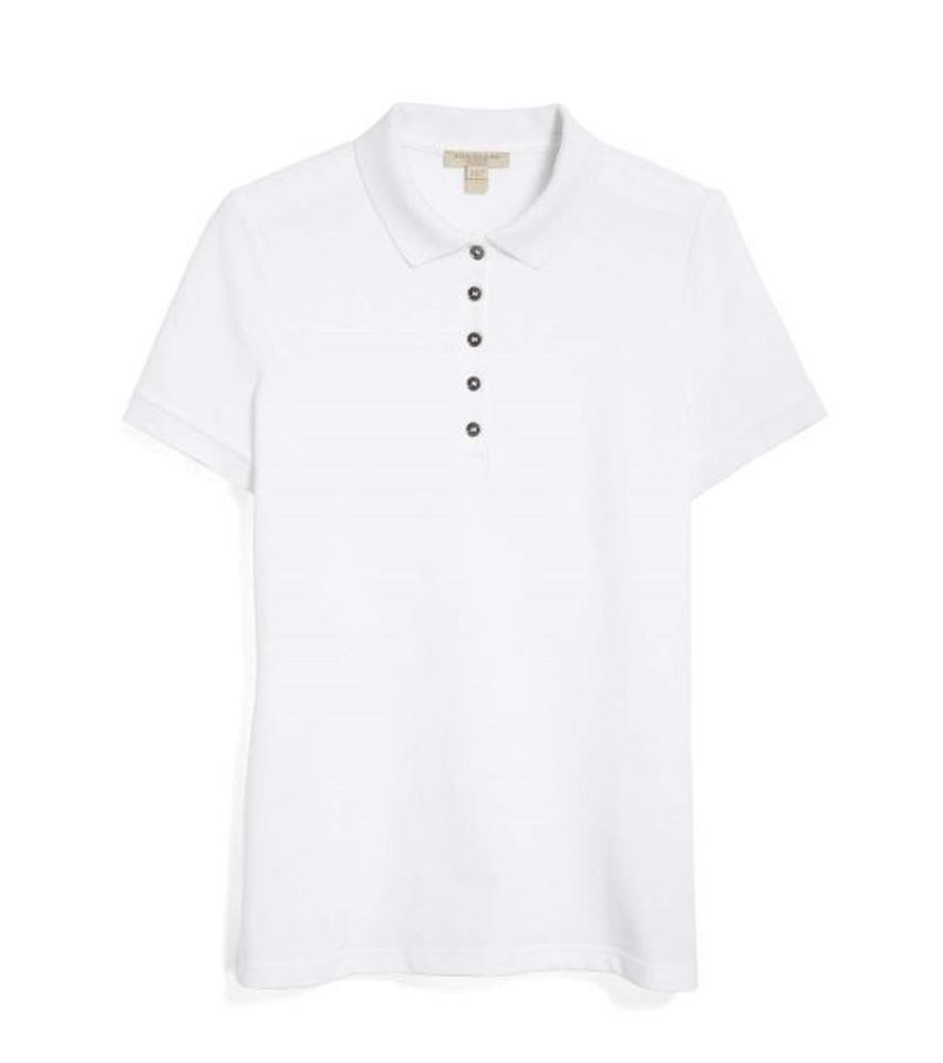 Burberry White Polo with Check Trim Tee Shirt Size 8 (M) - Tradesy 39c4120bf9
