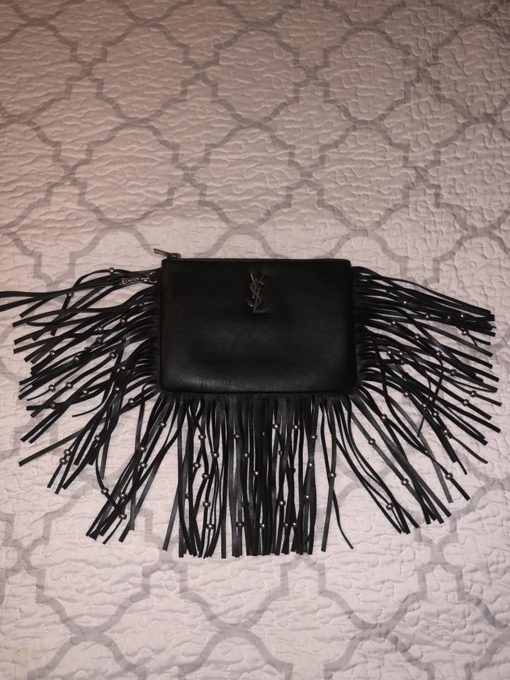 Fringe Beaded Pouch Laurent Saint Yves Monogram Wristlet Ysl Leather Black wH6PqXpI